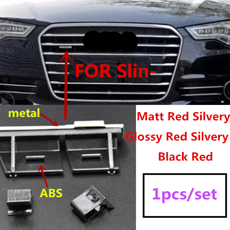 1 insignia de emblema de parrilla delantera negra cromada de plata mate de plástico ABS con soporte cromado para Audi Sline S Line A4 A4L A5 A6L S3 S6