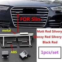 1X ABS пластик хром матовый Серебряный черный Передняя решетка эмблема значок хромированный крепление для Audi Sline S Line A4 A4L A5 A6L S3 S6