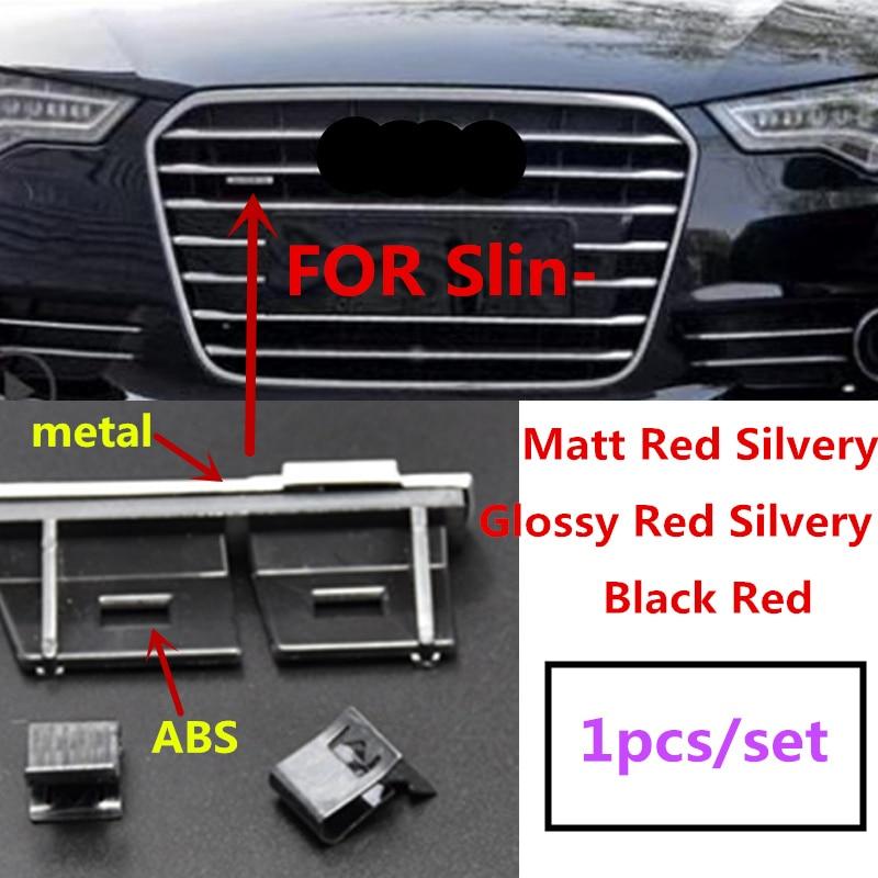 1X Abs Plastic Chrome Matt Silver Black Grille Embleem Badge Verchroomde Mount Voor Audi Sline S Line A4 A4L a5 A6L S3 S6