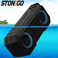 STONEGO Portable Bluetooth Speaker Wireless Flash Light Speaker TWS Bass Stereo IPX7 Waterproof Loudspeaker FM 12H Playtime
