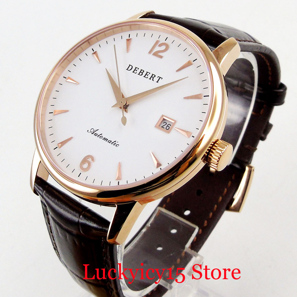 DEBERT Fashional Automatic Men Watch Silver/Rose Gold Round Case Date Function Sapphire Glass 41mm