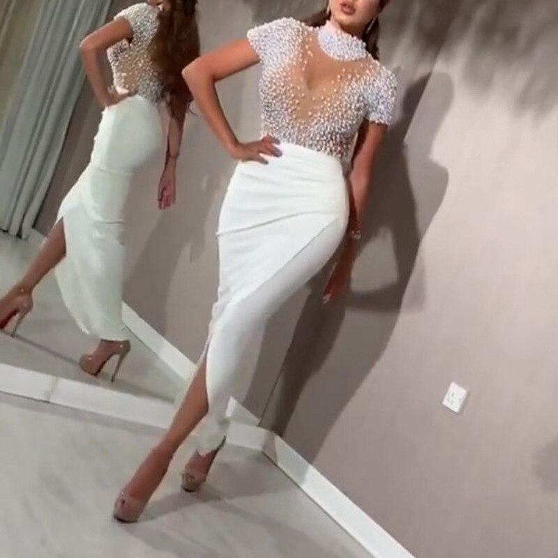 Kadınlar seksi elbise şeffaf tül boncuklu üstleri Patchwork yarık parti elbiseler kısa kollu kadın 2021 yaz gece tarih Out