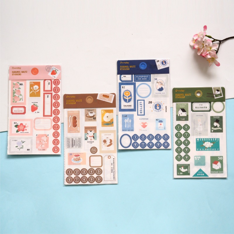 4 pcs/pack Caramel Waltz Decorative Washi Stickers Scrapbooking Stick Label Diary Stationery Album S