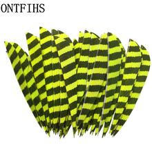 50pcs/lots 4 WD Shape Archery Hunting Arrow Feathers Striped Real Feather Accessories Fletching Turkey A-254