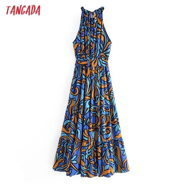 Tangada Fashion Women Leaf Print Summer Tank Dress 2021 New Arrival Sleeveless Ladies Midi Sundress With Slash  QN114 5
