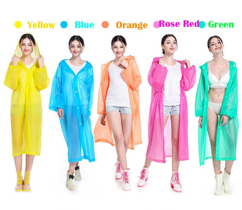Women Men Coat New Transparent Hoodie Clear Rainwear Runway EVA Rain Coat Long Sleeve Hooded Tops Ladies Rain Coats