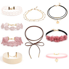 9-14Pcs Different Gothic Stretch Velvet Tattoo Lace Choker Necklace Set Long Pendant Jewelry Women Pink Black Wholesale