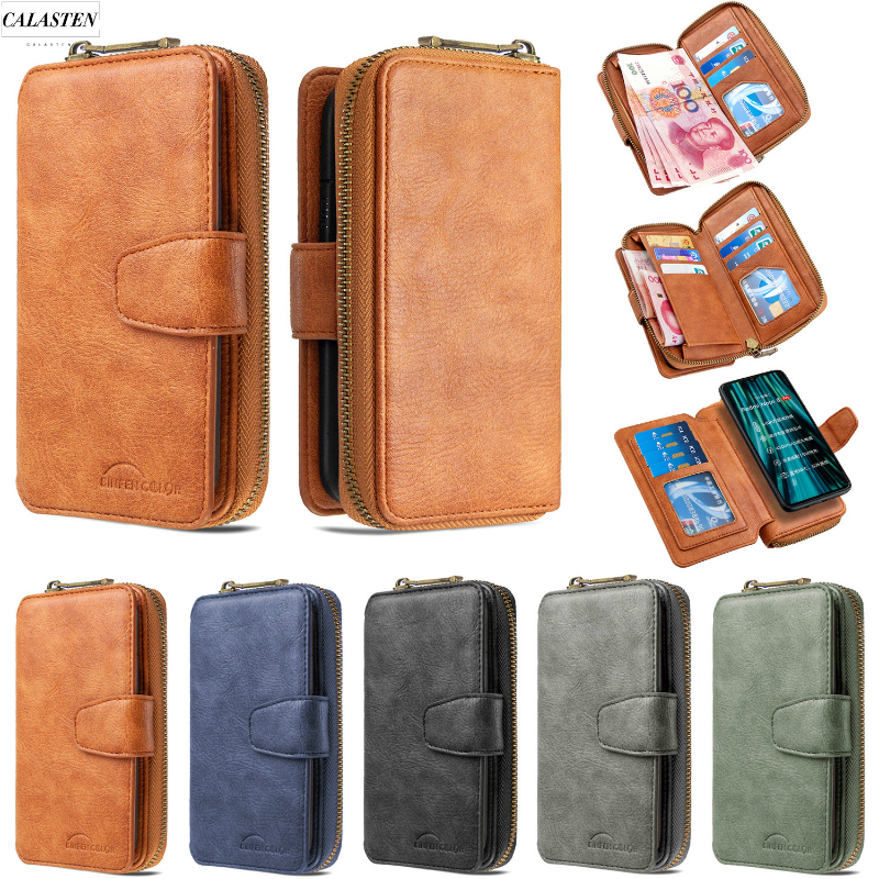 Wallet Case For Xiaomi Redmi Note 7 8 9 Pro Max 8T 7A K20 Mi Note 10 CC9 Detachable Leather Zipper Magnet Flip Stand Cover Mujer