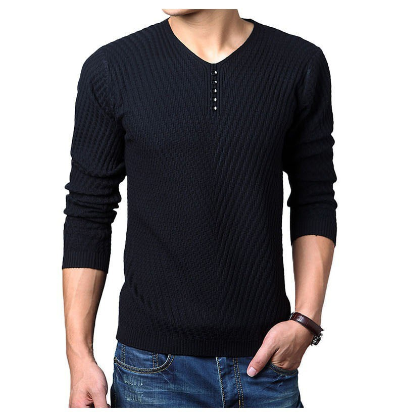 New Mens Thin Sweater Casual V-Neck Pullover Slim Fit Long Solid Color Knitted Cashmere Wool Pull Homme Breathable Male Sweaters