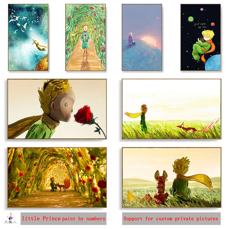 Diy Paint By Numbers Little Prince Fox Rose Star Wheat Field Picture Painting By Numbers With Kits Animation Lovely Gifts