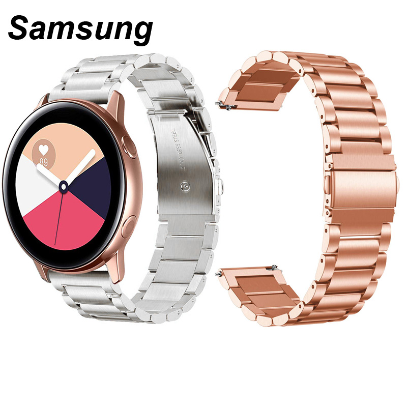 For Samsung Galaxy Active 2 40mm 42mm 44mm Watch Strap Stainless Steel Metal Watchband 20mm Width Black Silver Rose