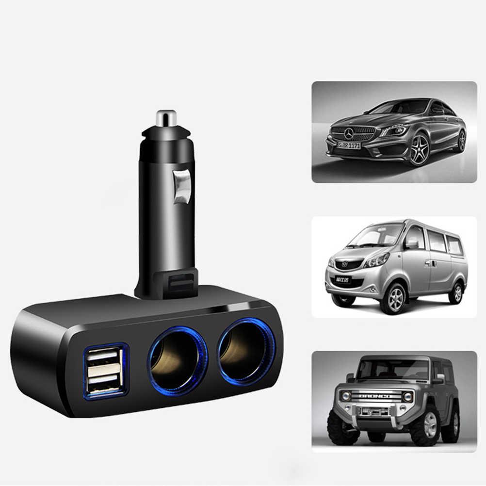 1 PC Mobil Splitter Listrik Adaptor Charger Mobil Ganda Usb untuk Charger Ponsel Pemisah 2 Rokok Port hitam