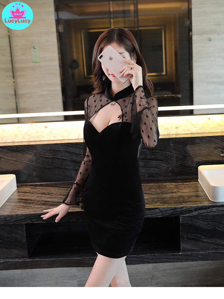 2019 new sexy deep v self cultivation polka dot long sleeved low cut perspective nightclub slim pack hip dress in Dresses from Women 39 s Clothing