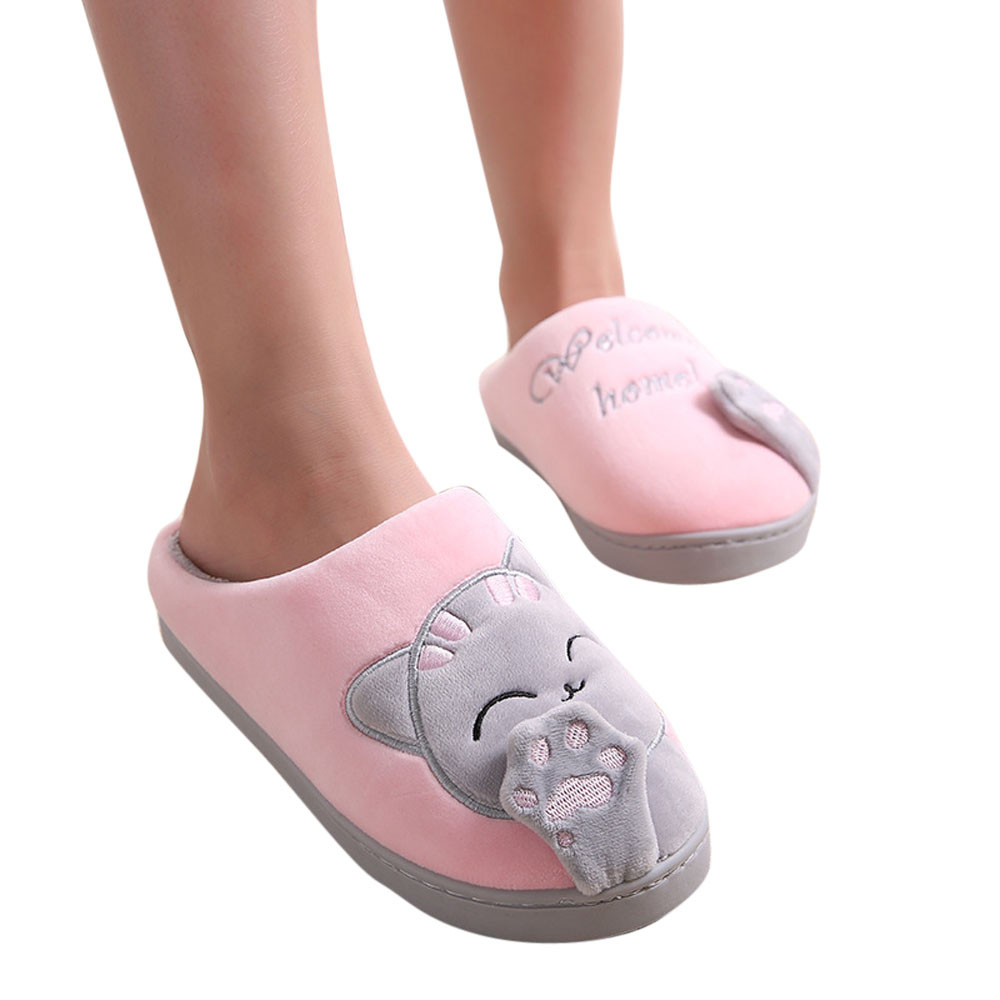Sleeper #401 2019 NEW FASHION Women Winter Home Slippers Cartoon Cat Non-slip Warm Indoors Bedroom Floor Shoes Free Shipping