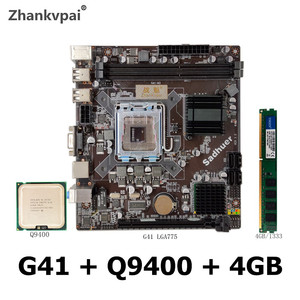 Desktop motherboard G41 set display with Intel Core 775cpu quad core 2.66GHz CPU Q9400 DDR3 4GB 1333 memory motherboard package