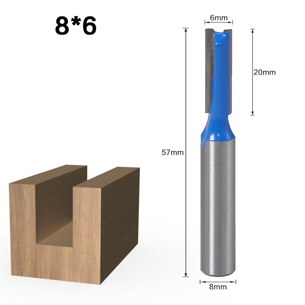 8mm Shank Slotted Straight Woodworking Router Bit Wood Cutter Cutting Diameter Carpenter End Mill Woodworking Tool