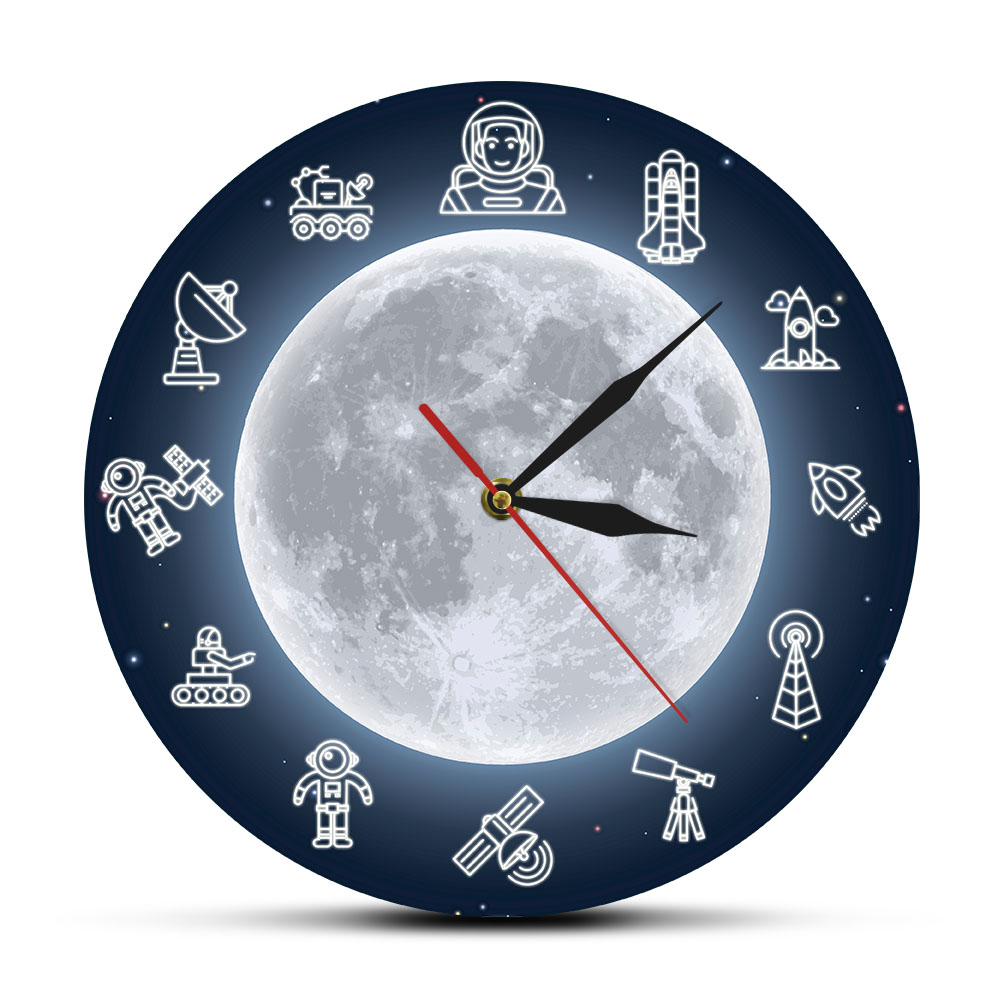Space Travel Moon Wall Art Modern Wall Clock Outer Space Astronaut Round Time Clock Wall Watch Science Surreal Galaxy Wall Decor