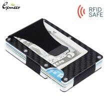 Gemeer, карбоновый держатель для карт, RFID, не сканирующий металлический кошелек, кошелек, мужской держатель для карт, модный Carteira Masculina Billetera