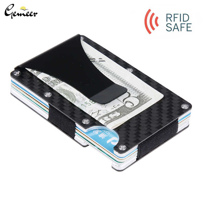 Gemeer Carbon Fiber Credit Card Holder RFID Non-scan Metal Wallet Purse Male Card Holder Fashion Carteira Masculina Billetera