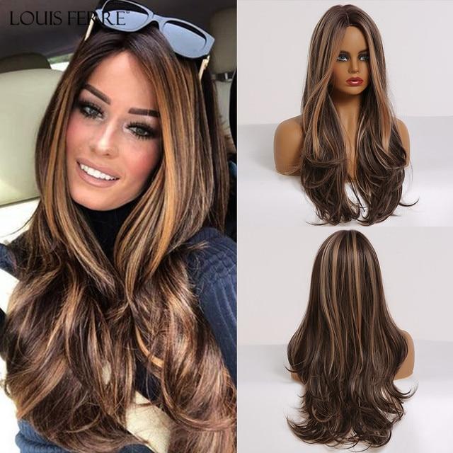 LOUIS FERRE długa czarna brązowa Gloden miód peruka z falowanymi włosami z podkreśla Cosplay peruki syntetyczne kobiety żaroodporne środkowa część peruki
