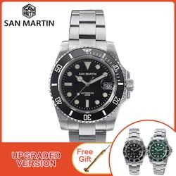 Часы San Martin Diver Water Ghost, роскошные мужские автоматические механические часы с сапфировым кристаллом, керамический ободок, 20 бар, светящееся ок...
