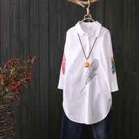 100% Baumwolle Plus größe Feder Stickerei Weiß Lange Bluse Frauen 3/4 Hülse Kunst Lose Damen Büroarbeit Tops Taste Unten shirts