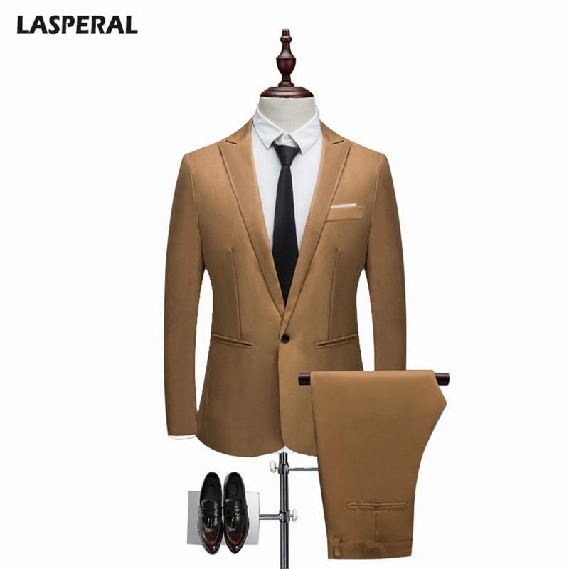 Men Clothing Set Mens Slim Set Solid Color Suit 2018 Fashion Suits Thin Men Wedding Suit Spring Autumn(Jacket+ Pant)