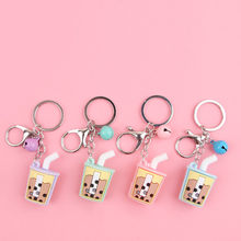 2020 Fashion Cartoon PVC soft glue pearl milk tea key ring pendant Fashion Drink cup Key Chains Toys Keyring For kids Woman gift(China)