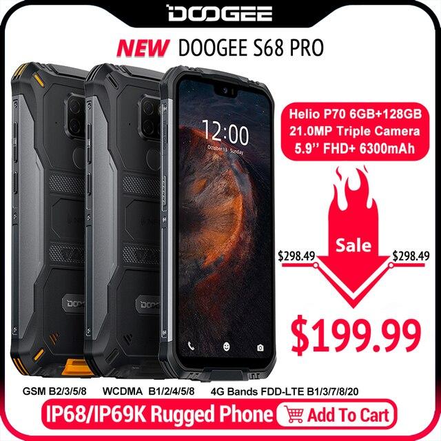 IP68 Водонепроницаемый DOOGEE S68 Pro прочный телефон Helio P70 Восьмиядерный 6 ГБ 128 Гб Беспроводная зарядка NFC 6300 мАч 12V2A зарядка 5,9 дюймов FHD +