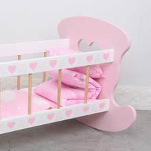 Pretend Play Simulation Crib Doll Bed Cosplay Baby Girl Furniture Cradle Shaker Bed Wooden Toy Interactive Toys for Kids Gifts