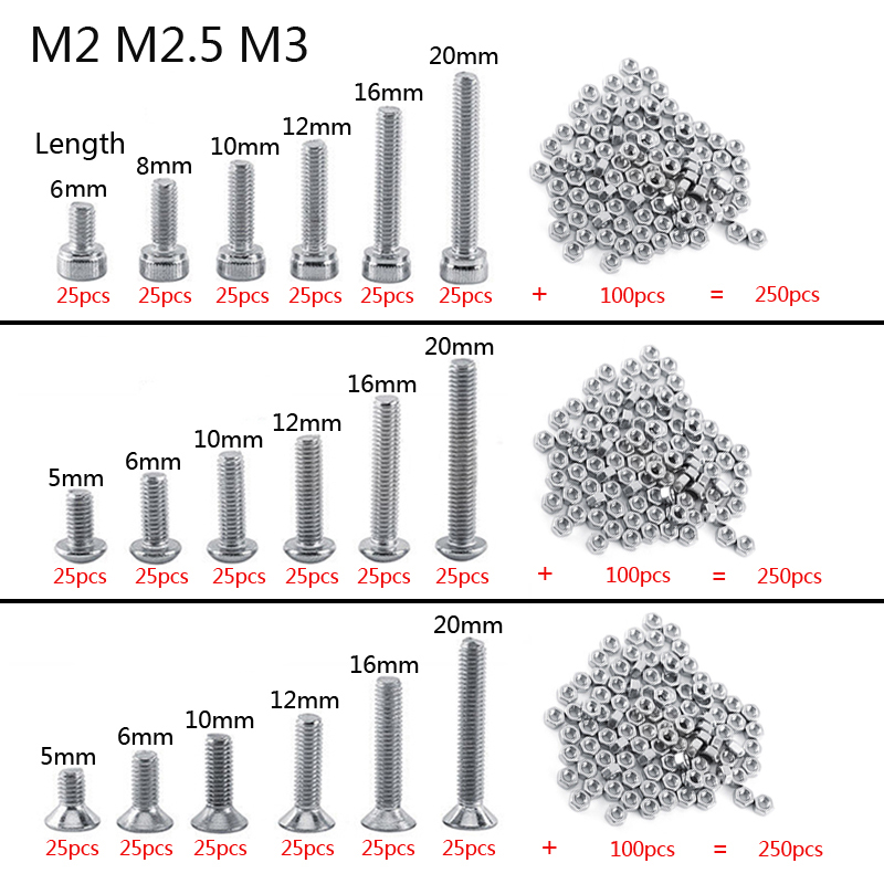 250pc/set A2 Stainless Steel M3M2.5M2 Cap/Button/Flat Head Screws Sets Hex Socket Bolt With Hex Nuts Assortment Kit