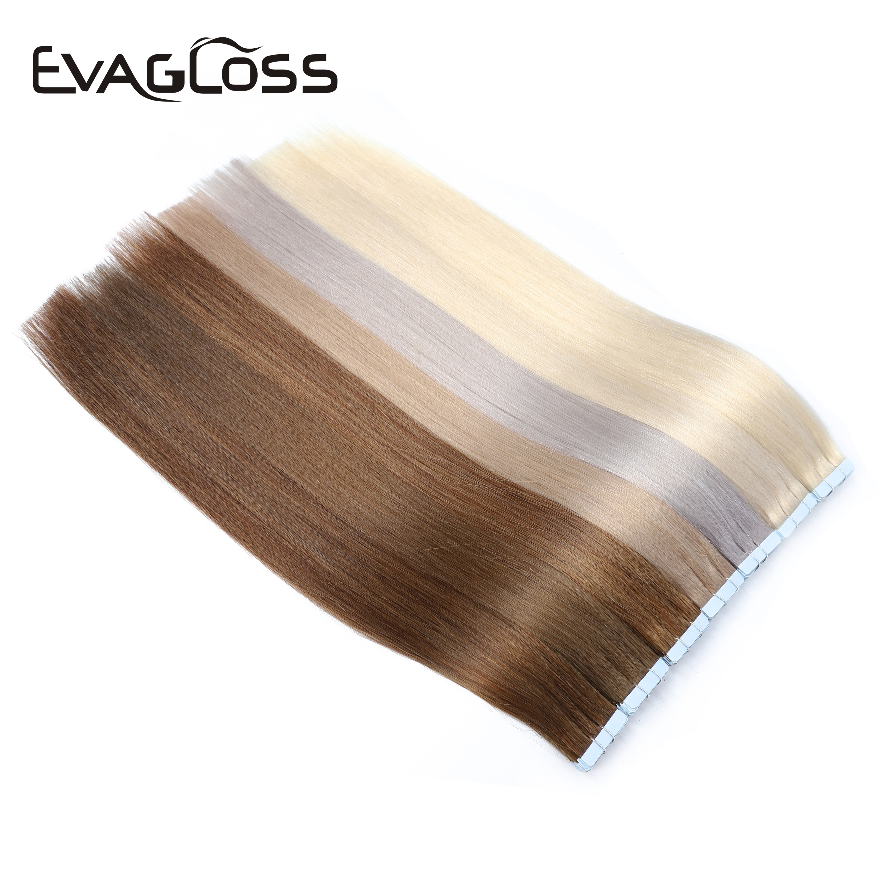 EVAGLOSS Skin Weft Machine Remy Tape In Human Hair Extensions 10pcs 20pcs 40pcs Adhesive Double Sided Tape In Hair Extensions
