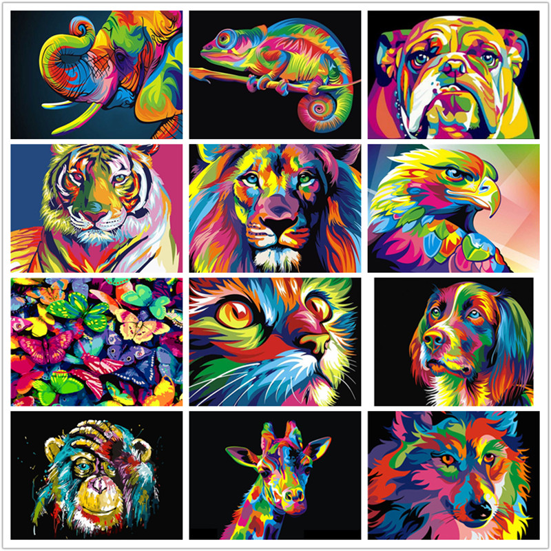 Frameless Colorful Cartoon Animals Abstract Painting Diy Digital Painting By Numbers Modern Wall Art Picture For Home Decoration