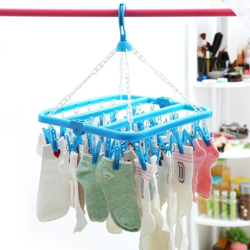 32 คลิปพับชั้นวางชุดชั้นในถุงเท้าคลิปแขวน Multi-Function Windproof เก็บพลาสติกเสื้อผ้า Drying Rack