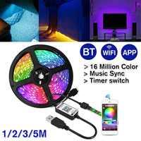 5 в USB bluetooth Светодиодная лента светильник 5050 RGB 60 светодиодный/м IP67 гибкий светильник WiFi музыка дистанционное управление приложение ТВ ПОДСВ...
