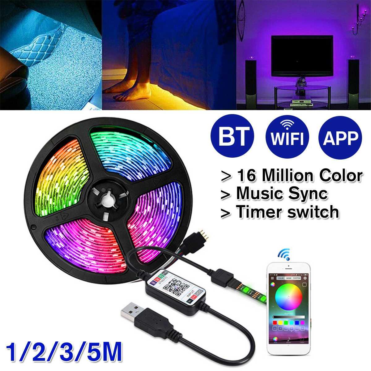 1-5m 5050 RGB LED Licht Stripe USB Leiste Streifen Band WiFi APP Controller NEU