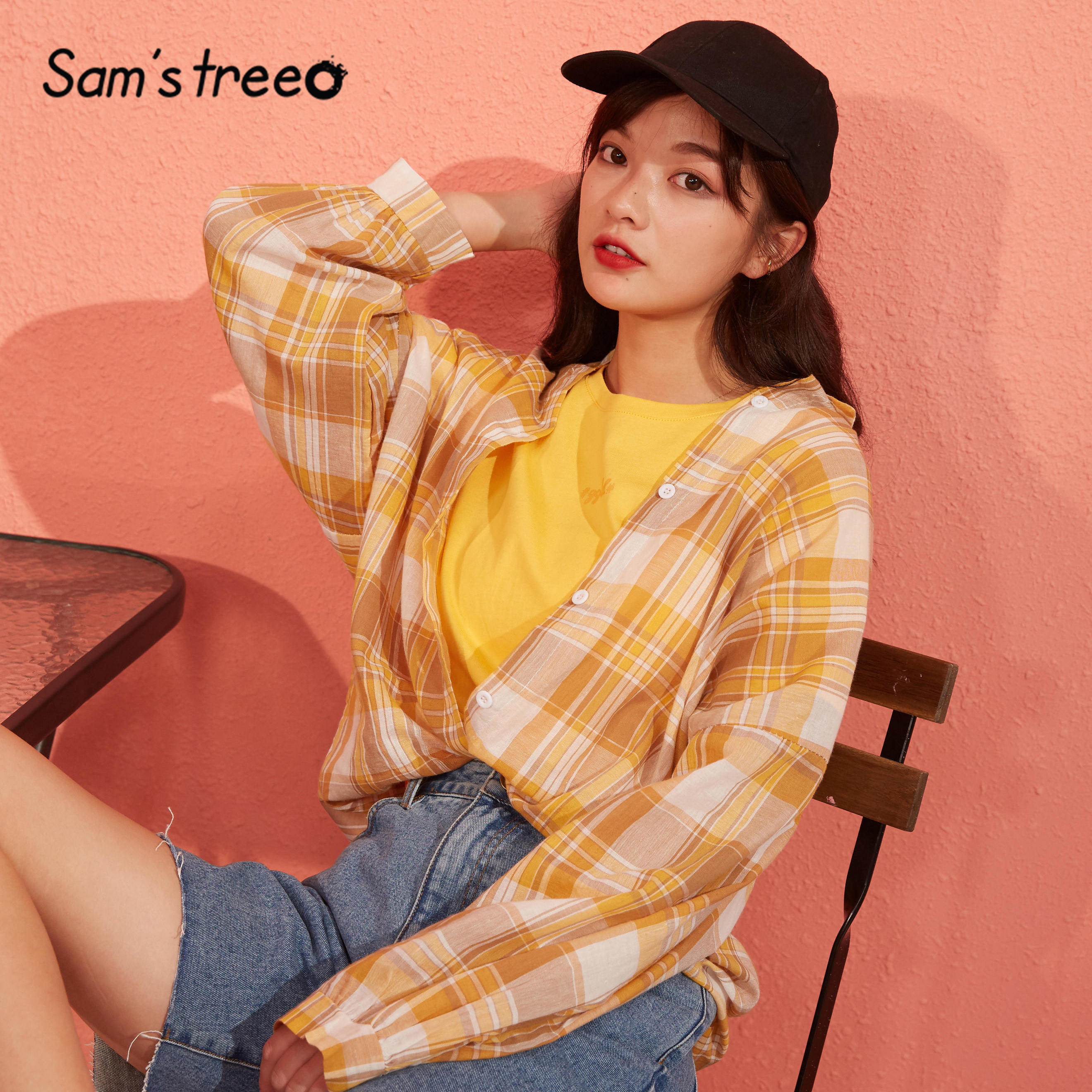 SAM'S TREE Yellow Plaid Single Breasted Oversize Women Shirts 2020 Spring Vintage Drop Shoulder Sleeve Korean Girly Daily Tops