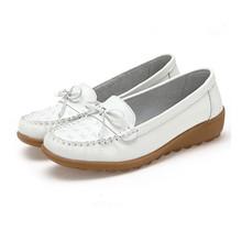 Płaskie buty damskie wygodne białe nowe miękkie modne buty klasyczne buty pielęgniarskie Super lekkie wsuwane damskie obuwie tanie tanio VEAMORS Buty łodzi Prawdziwej skóry Slip-on Pasuje prawda na wymiar weź swój normalny rozmiar Na co dzień Butterfly-knot