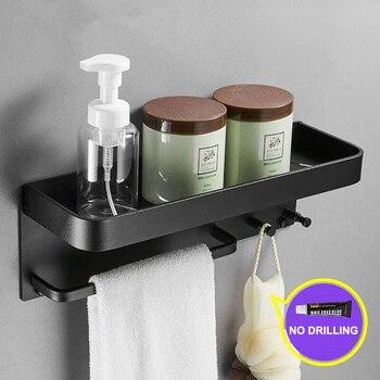 Bathroom Shelf Wall Mount Shower Caddy  Holder Rack Towel Rail Adhesive Bath Storage Kitchen Organizer