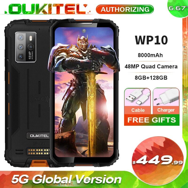 OUKITEL WP10 IP68 Waterproof 5G Rugged Smartphone 8GB+128GB 8000mAh 48MP Camera 6.67'' FHD+ Global Version Mobile Phone NFC