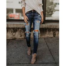 Dżinsy damskie moda dżinsy z dziurami spodnie dla kobiet fajne dżinsowe jeansy retro wysokiej talii dżinsy damskie obcisłe dżinsy rurki mama tanie tanio BONJEAN Pełnej długości COTTON Streetwear 1142 Zmiękczania Ołówek spodnie skinny Medium Enzym prania Moustache Effect