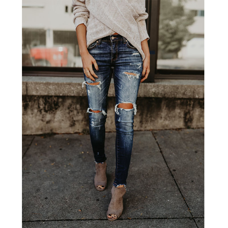 Ladies Jeans Fashion Hole Jeans Women's Pants Cool Denim Retro Jeans High Waist Women's Jeans Skinny Jeans Mom