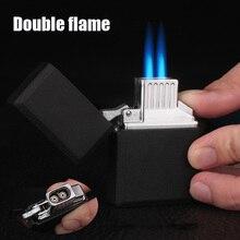 Бутановая газовая зажигалка с двойным пламенем, прямые зажигалки, многоразового использования, регулируемая Зажигалка для пламени, гаджеты для мужчин, подарок