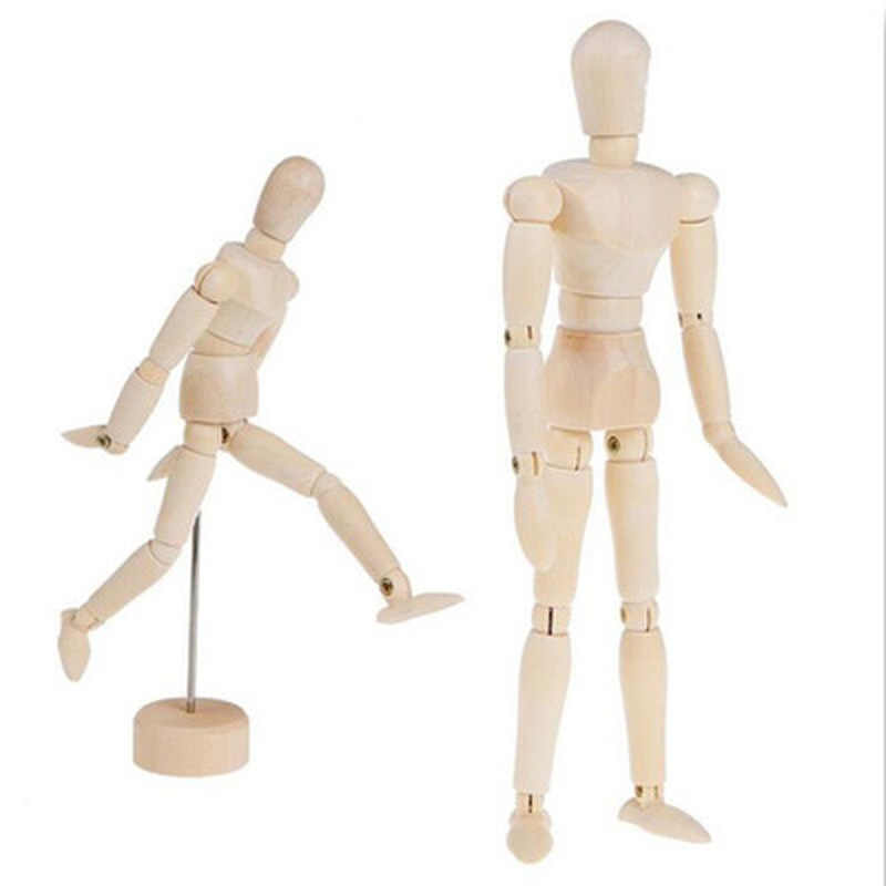 4.5/5.5/8 pouces peinture croquis en bois homme modèle artiste membres mobiles poupée mâle en bois jouet Art dessiner figurine Mannequin enfants jouet