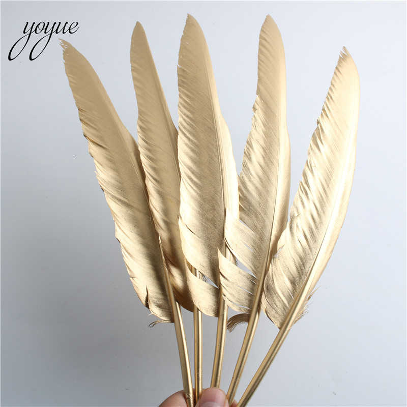 YOYUE 10 шт./лот золотые гусиные перья пух 12 14 дюймов/30 35 см для рукоделия одежды DIY