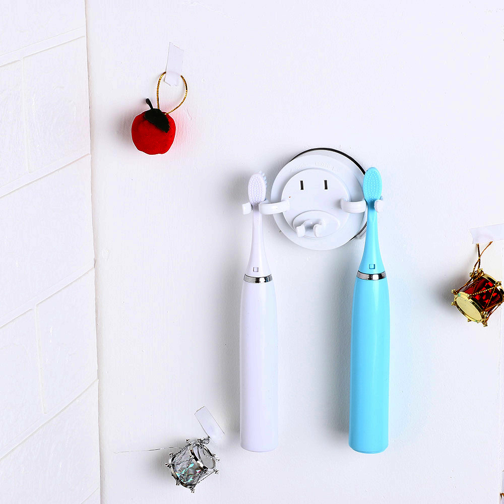 No Punching Electric Toothbrush Holder Wall Mount Powerful Vacuum Suction Cup Tooth Brush Holder Bathroom Stand Storage Hooks image
