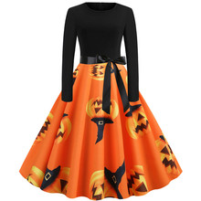 Women Halloween Dress Vintage Long Sleeve 50s Housewife Evening Party Soft Leisure Comfortable vestidos