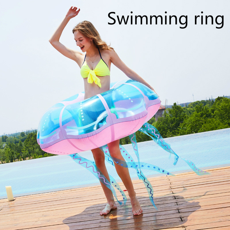 New Style Jellyfish Fashion Transparent Floating Row Creative Jellyfish Swimming Circle Water Seat Water Supplies