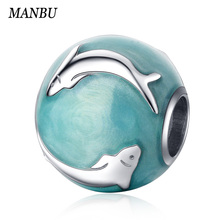 MANBU 925 sterling silver blue ocean Enamel charm with cute animal dolphin charms beads diy fashion jewelry for women gifts Sale 4pcs cute enamel round dolphin earring