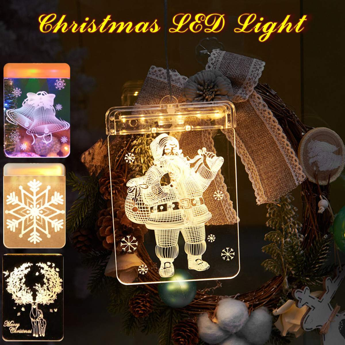 New Design Acrylic Warm White Flexible Holiday Night Lamp Santa Claus Bell Elk Snowflake Led Sign Xmas Window Decoration Lights